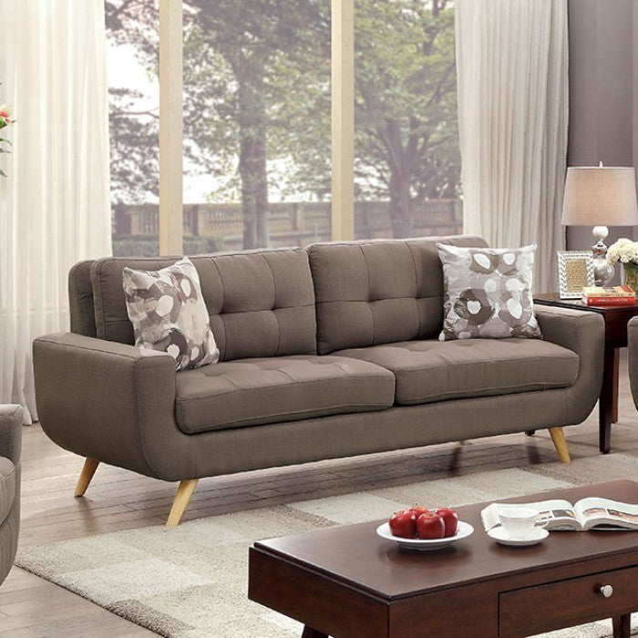 Livvy Mid Century Modern Tufted Sofa With U-Shaped Base, Gray