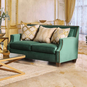 Verdante Love Seat With Gold Tonned Pillows