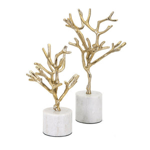 Appealing Concepts Eclipse Trees on Marble Base - Set of 2 - Goldn - Benzara