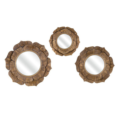 Enticing Wanderings Wall Mirrors - Set of 3 - Copper - Benzara