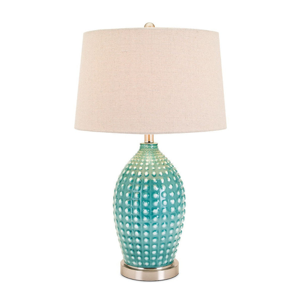 Adaline Ceramic Table Lamp, White & Blue - Benzara