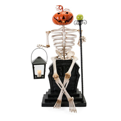 Apothescary Halloween Skeleton and Grave Stone - Multicolor - Benzara