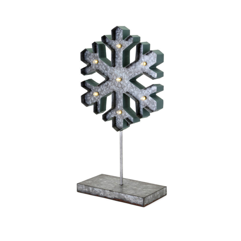 Homestead Christmas Small Lighted Snowflake On Stand - Gray and Green - Benzara