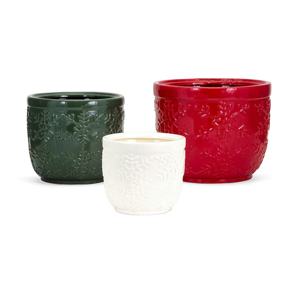 Homestead Christmas Snowflake Planters - Set of 3 - Multicolor - Benzara
