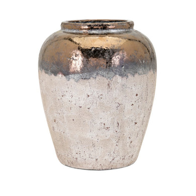 Taborri Urn - Copper and White - Benzara
