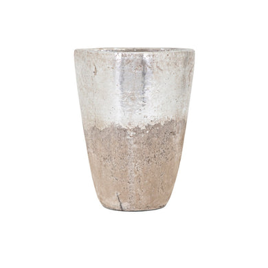 Tala Medium Vase - Silver and beige - Benzara