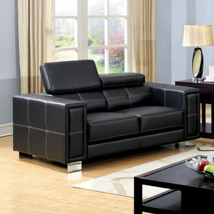 Garret Boned Leather Contemporary Love Seat, Black