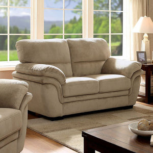 Jaya Transitional Style Microfiber Love Seat, Light Brown