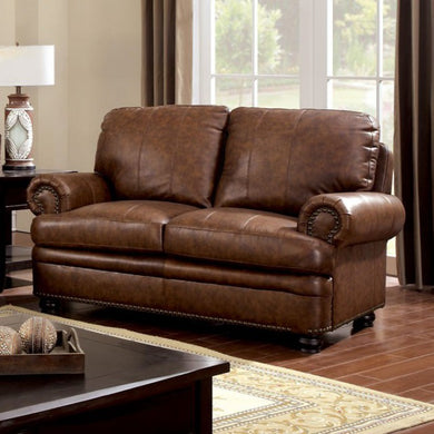 Reinhardt Transitional Style Love Seat, Brown