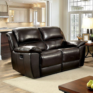 Keara Power-Assist Transitional Love Seat, Dark Brown