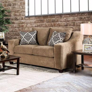 Lesath Love Seat With Sloped Track Arms, Mocha