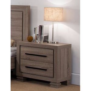 Luxurious Brown Finished Nightstand With Two Drawers And Top Display Stand.