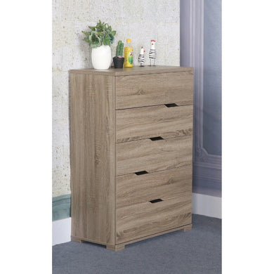 Capacious Brown Finish 5 Drawer Chest With 5 Tier.