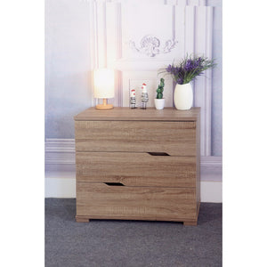 Commodious 3 Drawer Storage Chest With Metal Glides, Brown Finish.