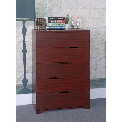 Commodious 5 Drawer Storage Chest With Metal Glides, Cherry Brown.