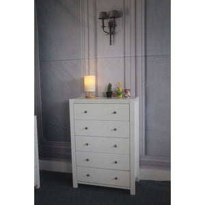 Spacious Gleaming White Finish 5 Drawer Storage Chest With Metal Glides.
