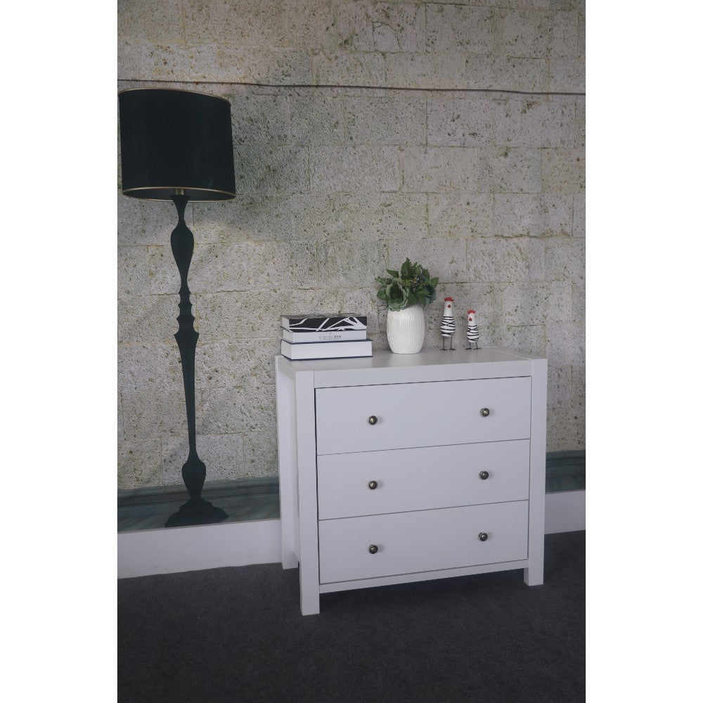 Capacious Shiny White Finish 3 Drawers Chest With Metal Glides.