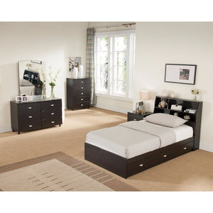 Luxurious Full 3 Drawers Chest Bed, Dark Brown.