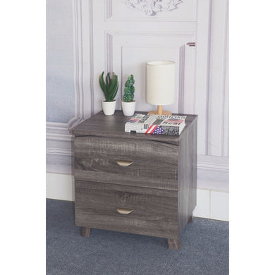 Contemporary Style Grey Finish Nightstand With 2 Drawers On Metal Glides.