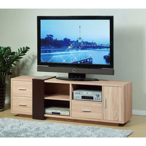 Splendid TV Stand With Decorative Panel, Brown