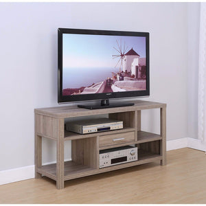 Imposing Spacious TV Stand With Drawer, Brown