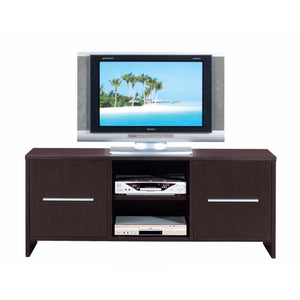 Sleek And Wide TV Stand With Two Cabinets, Brown