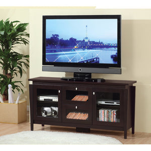 Transitional TV Stand With See Through Cabinets, Brown