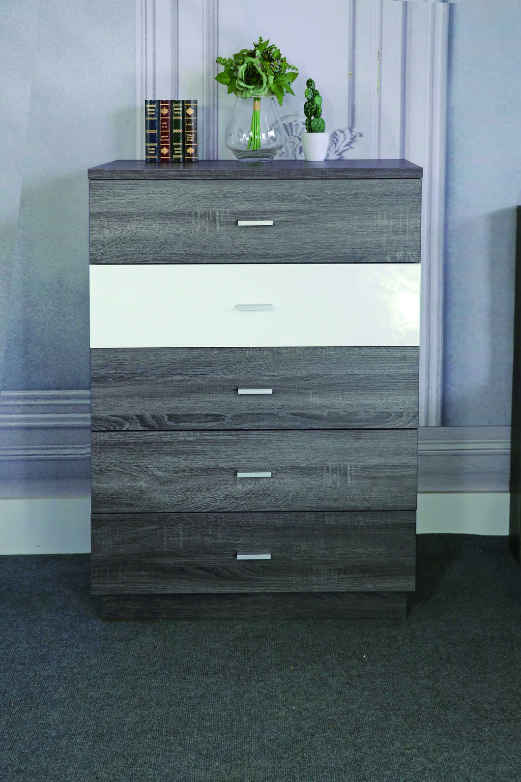 Spacious Chest With 5 Storage Drawers On Metal Glides, Distressed Gray & Glossy White