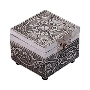 "Handmade 3.2"" Chest Shaped Jewelry, Trinket, Keepsake Box Enhanced w/ Metal Embossing"