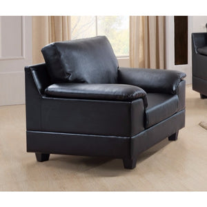 Contemporary Bonded PU Leather Chair With Tuft Cushion.