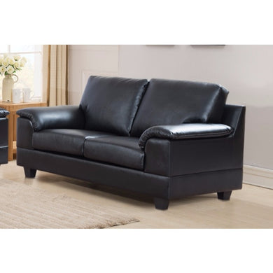 Deluxe PU Leather Loveseat With Velvety Arm Rest, Black Finish.