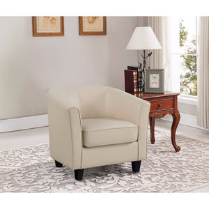 PU Leather Chair With Elliptical Back, Cream Finish