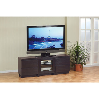 Modern Style TV Stand With 4 Drawers, Dark Brown