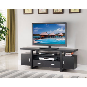 Stylish TV Stand With Utility Storage, Black