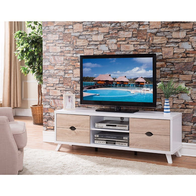 Modern TV Stand With Cutout Drawer Storage, White and Brown