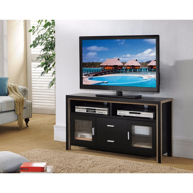 TV Stand With See Through Plastic  Cabinets, Black and Brown