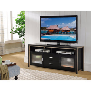Stylish Two Tone TV Stand Frosted Cabinets, Black and Brown