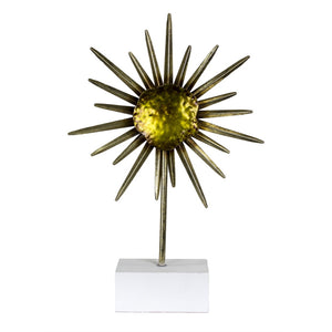 Metal Flower Sculpture On Stand, Green