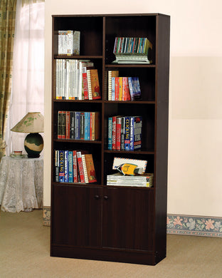 Verden Bookcase with 2 Doors, Espresso