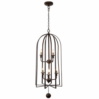Imposingly Guised Chandelier In Brown