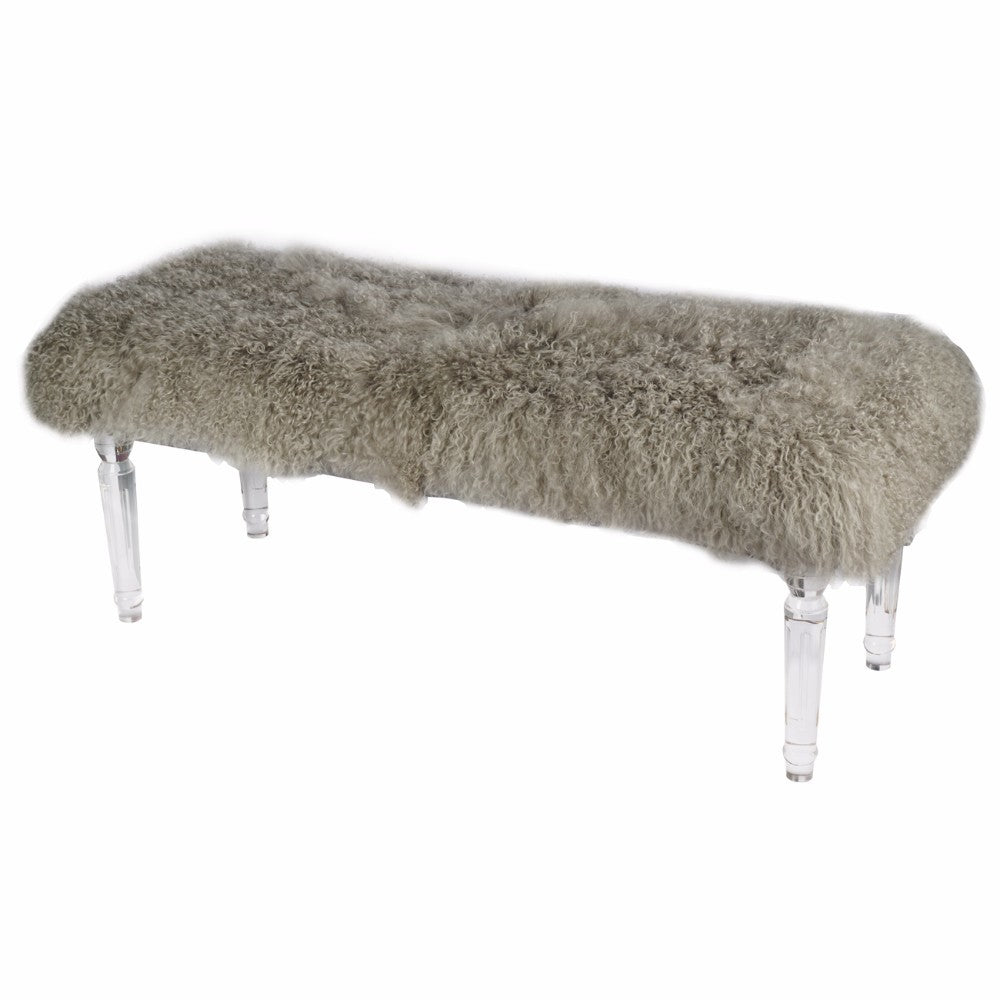 Soft to Touch Gray Mongolian Fur Bench