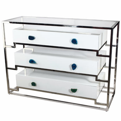 Functionally Stylized Stainless Steel Cabinet with 3 Drawers
