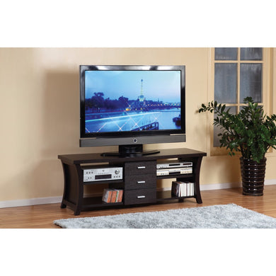 Modern Style TV Stand With 3 Drawers And 4 Open Shelves.