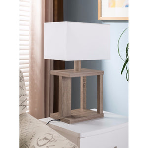 Sturdy Table Lamp With Wooden Base, Light Brown