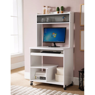 Well Designed Computer Cart With Efficient Storage, White