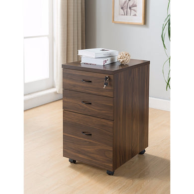 Wooden File Cabinet With Three Drawers, Dark Brown