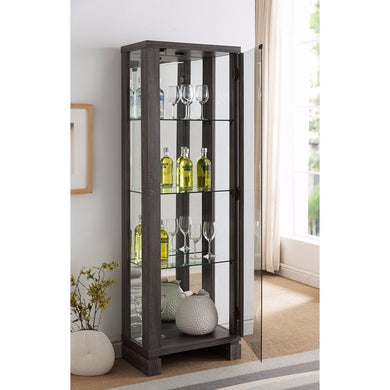 LED Curio With Clear Glass Shelves, Gray