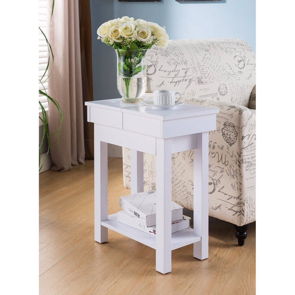 Simplistic End Table With Hidden Storage, White
