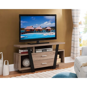 Well- designed Modern Style TV Stand, Black and Light Brown