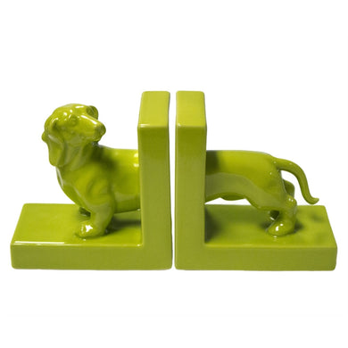 Well-Designed Ceramic Dachshund Bookends, Green, Set Of 2